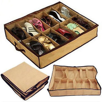 12 Pairs Shoes Foldable Storage Holder Bag Box Rack Underbed Closet Organizers W