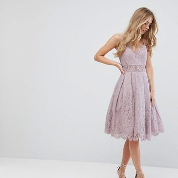 Chi Chi London Cami Strap Midi Dress in Premium Lace at asos.com