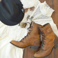 Vintage Size 9 Leather Western Brown Tan Boots