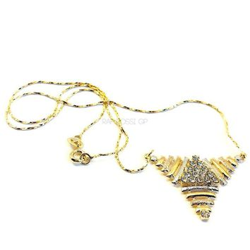 Triangle Tri-Color Necklace 18Kts of Gold Plated