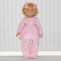 18 inch Doll Pink Flannel Pajamas with Kittens and Tea Cups Girl Sleepwear American Doll Clothes