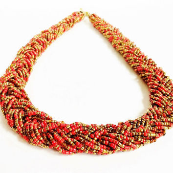 Seed Bead Necklace , Vintage Beaded Necklace , Braided Strand , Twisted Braid , Orange Coral , Bronze Brown , Southwestern , Mediterranean