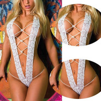Women Sexy Lingerie Night Sleepwear Lace One-piece Stripper Open Bra Crotch S/M/L = 1705744516