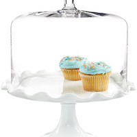 Martha Stewart Collection Milk Glass Ruffle Cake Dome - Serveware - Dining & Entertaining - Macy's