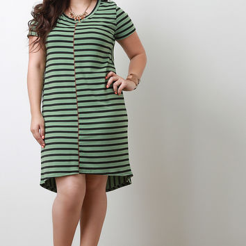 Plus Size Striped Short Sleeve Dress