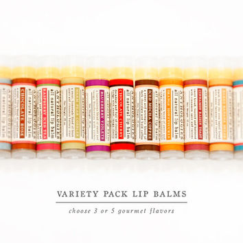 SALE - Variety Pack All Natural Lip Balms - Live Beautifully Lip Balm Anthologies - Pick 3 or 5 Gourmet Lip Balms