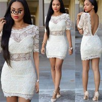 Robe Femme Sexy Hippie Women Summer Vestidos Casual White Lace Dress Bodycon Celebrity Party Dresses Short Mini Dress Sukienka