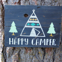 """Joyful Island Creations """"Happy Camper"""" wood sign/ teepee sign/ tree sign/ black, gold and mint sign/ nursery sign"""