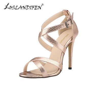 Sandals Women Cross-tied Summer Casual Shoes Fashion Open Toe Buckle High Heels Ladies Crocodile Party Sandal Leather 102-1A-XEY