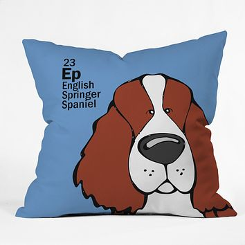 Angry Squirrel Studio English Springer Spaniel 23 Throw Pillow