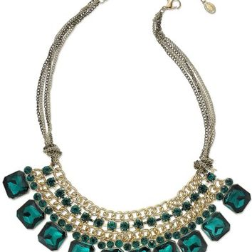 Ali Khan Gold-Tone Green Stone Multi-Row Frontal Necklace - Fashion Jewelry - Jewelry & Watches - Macy's