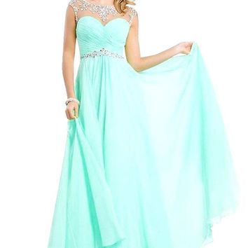 Cap Sleeve Beaded Crystal Chiffon Long Prom Dress
