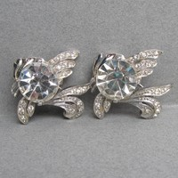 CUTE Pair 1940's Retro BIG Rhinestone Belly Tropical Fish Pins