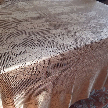 Vintage Filet Crochet Tablecloth Rose Pattern Large Cotton Crochet Handmade