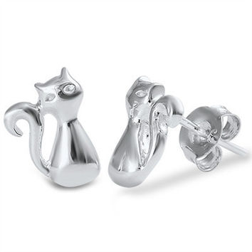 Sterling Silver Cat Studs / Earrings
