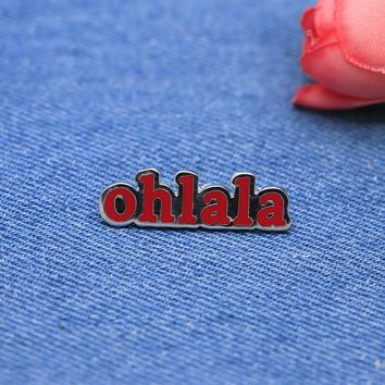 Red Letter Brooches Ohlala Enamel Pin for Girls Boys Lapel Pin Hat/bag Pins Denim Jacket Shirt Women Brooch Badge SC4299