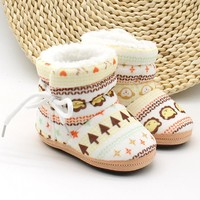Toddler Infant Newborn Baby Print Boots Soft Sole Boots Prewalker Warm Shoes
