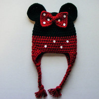 Minnie Mouse Inspired Crochet Hat With Earflaps and Braided Straps Choose Yellow or Red Trim