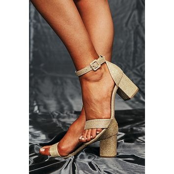 Shining Bright Ankle Strap Heels (Gold Shimmer)