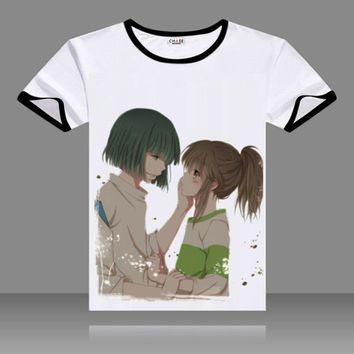 2017 T-shirts Spirited Away Cosplay Black O-Neck Short Sleeve Costumes ogino chihiro Print Shirts Tops Summer Tees
