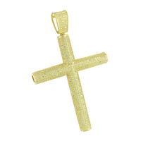 Iced Out Cross Pendant Yellow Simulated Diamonds Cylinder Style