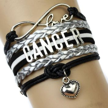 Infinity Love Cancer Charm Heart Bracelet Twelve Constellations The Signs of the Zodiac Bracelet Black Silver