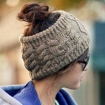 Women's Knit Open End Hat, Crochet Headband, Fall Accessories