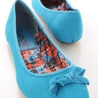 Turquoise Round Closed Toe Scoop Vamp Stylish Flats