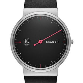 Skagen Mens Ancher Watch - Black Dial - Steel - Black Leather Strap - Red Hand