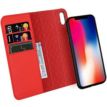 Zover iPhone X Case Detachable Genuine Leather Wallet Case With Auto Sleep/Wake Function Support Wireless Charging Magnetic Car Mount Holder Kickstand Feature Magnetic Closure Gift Box Red