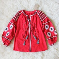 Arizona Sky Blouse in Red