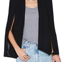 Black Pretty Womens Opened Sleeve Cape Blazer - MelodicDay