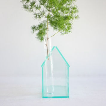 "Little ""glass house"" bud vase - small acrylic structure with chimney vase - greens edge acrylic geometric architecture"