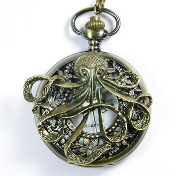 Steampunk octopus pocket watch locket necklace  by caishenbeads