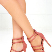 Trend Tracker Blush Suede Caged Heels