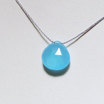 Aqua Blue Chalcedony Necklace,Faceted Heart Briolette, Natural Blue Quartz, Cord, Wabi Sabi, Minimalist, Simple Jewelry, Zen Gem Necklace