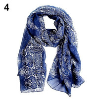 elegant Women's fashion long big wraps soft autumn winter scarves Korean floral printed scarf WFGX popular goods = 1946474436