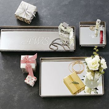 Mirrored Dresser-Top Trays