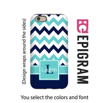 Monogram iPhone 6s case, aqua and navy chevron iPhone 6s plus case, iPhone 5c case, iPhone 5s case, iPhone tough case, iPhone 6 plus case
