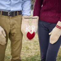 Valentines day gift, couples gloves set, gift for couples, smitten, with initials and a heart, valentines smitten, wedding gift
