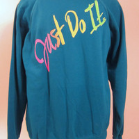 Vintage Deadstock 80s JUST DO IT Nike Inspired Teal Bright Graphic Soft Cotton Acrylic Large Oversized Unisex Sweatshirt