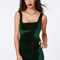 Missguided - Pipin Velvet Bodycon Dress Deep Green