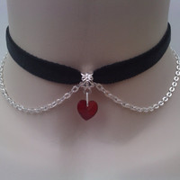 Mini RED Crystal Glass Heart With Chain BLACK Velvet Ribbon Choker Necklace - an
