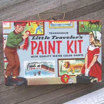 Vintage children's paint kit; original box - Little Traveler paint kit - Retro paint set in box - Vintage art box tote - Art supply tote