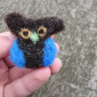 Blue Felted Owl Ring Hand Dyed Adjustable Blue Owl Ring