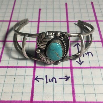 Old Pawn Navajo Battle Mountain Blue Gem Turquoise Sterling Silver Bracelet