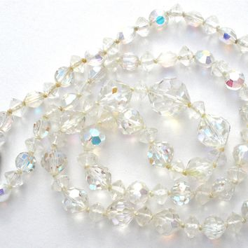 Knotted Aurora Borealis Crystal Bead Necklace Vintage