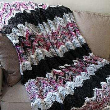 Adult Crochet Blanket - Teen Crochet Blanket - Pink and Black Throw, Home Decor Blanket - Full Size Ripple Afghan - Large Crochet Throw