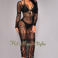Black Silky Crochet Cover-Up Long Sleeves Maxi Dress