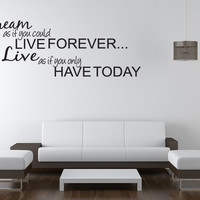 DREAM LIVE Girls Teen Bedroom Vinyl Wall Quote Art Decal Sticker Room Decor 28""